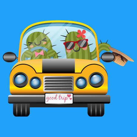loving couple of cactus driving a yellow car in trip Vector