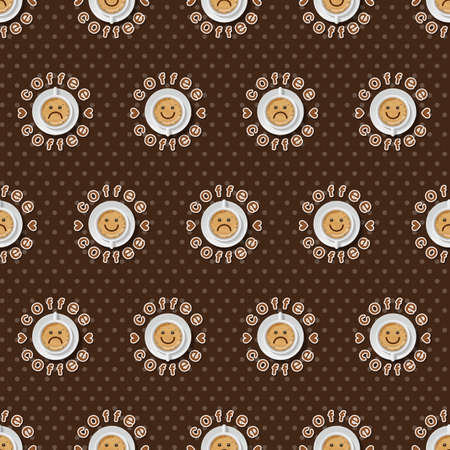 face expression: Face expression of cappuccino cup and polka dot seamless pattern