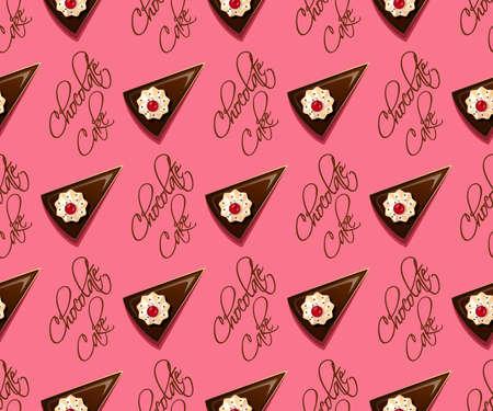 cake background: Seamless pattern of chocolate cake chocolate cake background
