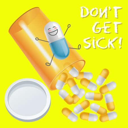 pill bottle: positive emotion cartoon on capsule sliding on pill bottle Illustration