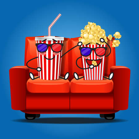 watching 3d: popcorn and soft drink cartoon watching 3D movie and eating popcorn