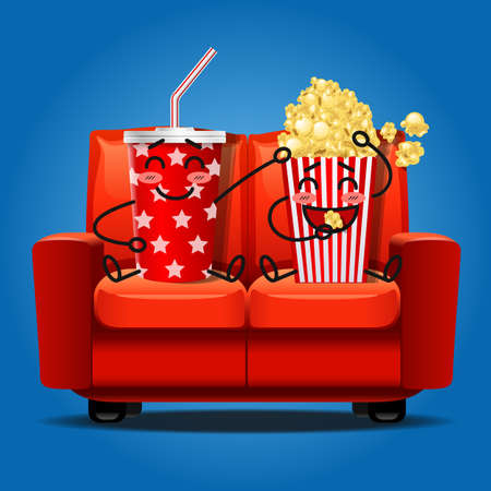 soft drink: popcorn and soft drink cartoon watching movie and eating popcorn