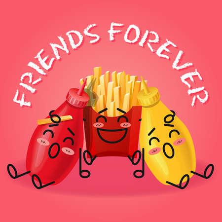 fritto: patate fritte e ketchup e senape fumetto amicizia Vettoriali