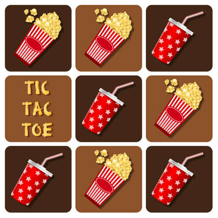 plastic straw: Illustration of paper cup cola with plastic straw and popcorn in tictactoe game