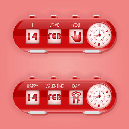 february 14th: table flipping clock and calendar for Valentine day 14th February