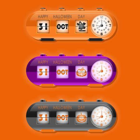 październik: table flipping clock and calendar for Halloween day 31st October