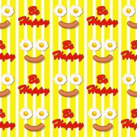 fritto: uovo fritto e salsiccia in volto sorridente seamless pattern Vettoriali