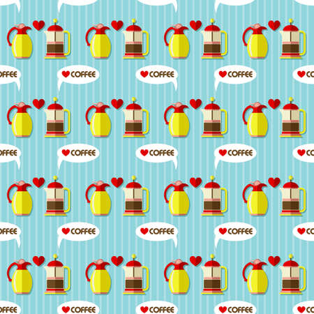 stainless: French press coffee maker and stainless steel vacuum jug seamless pattern