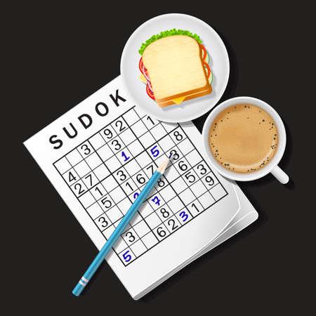 Ordinal: Draufsicht auf Sudoku-Spiel mit Cappuccino-Tasse und Sandwich