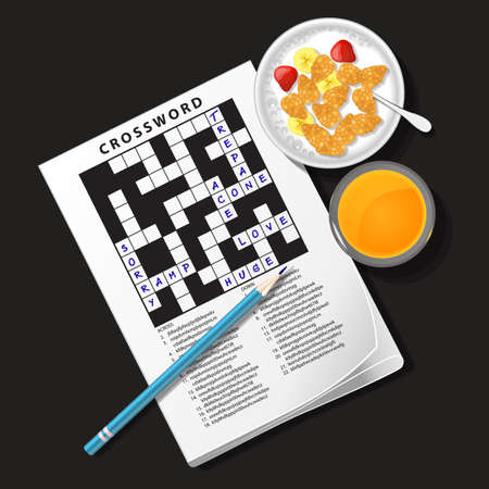 bowl game: top view of crossword game with cereal bowl and orange juice
