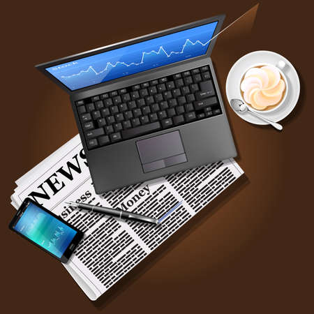 laptop screen: Financial data on laptop screen and mobile phone with newspaper and coffee