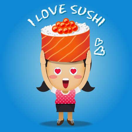 sushi roll: happy woman carrying big sushi roll Vettoriali