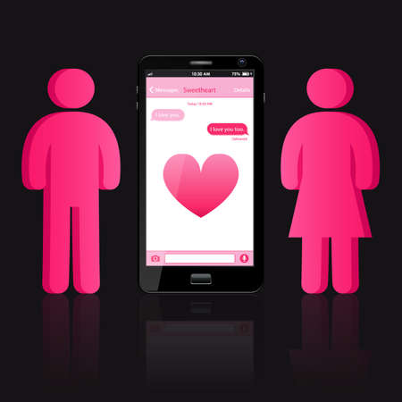 woman cellphone: loving couple of human shape and smart phone with chat bubbles or messages on smart phone screen