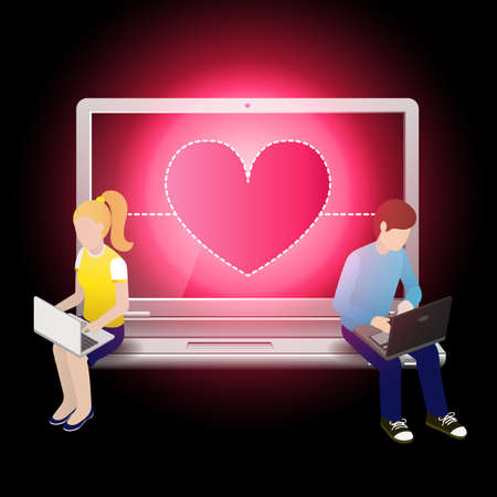using laptop: amorevole coppia con laptop e seduto sul computer portatile a forma di cuore su schermo portatile