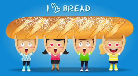 gens heureux: les gens heureux transportant grand pain fran�ais Illustration