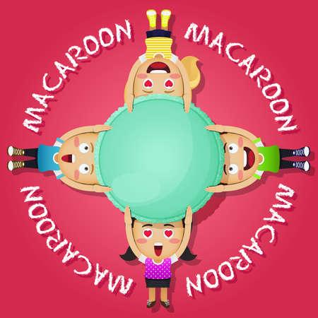macaron: gl�ckliche Menschen tragen gro�e Makronen oder macaron