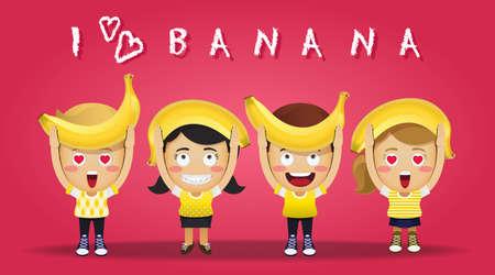 gens heureux: happy people carrying big ripe bananas