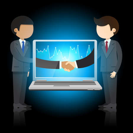 laptop screen: Two businessmen and laptop with shaking hands on laptop screen, online communication Illustration