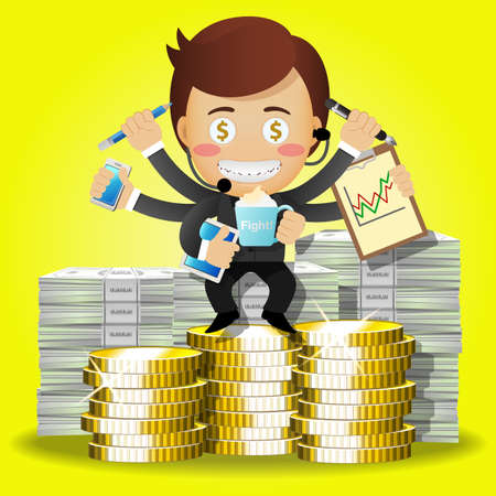 coins stack: businessman with many arms sitting on stack of big dollar bills and golden coins Illustration