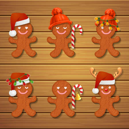 christmas cookies: collection of gingerbread man Christmas cookies on wood background Illustration