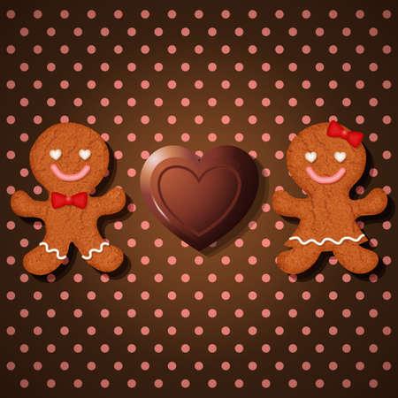 bułka maślana: Loving para piernikowe ciasteczka czekolady i serca na wzór polka dot bez szwu