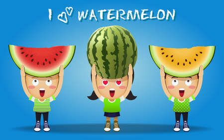 watermelon woman: happy people carrying big whole and sliced watermelons Illustration