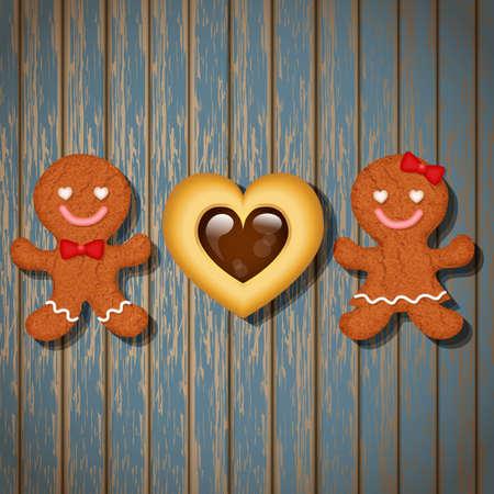 bułka maślana: loving couple of gingerbread cookies and chocolate heart cookie on wood background