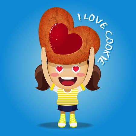 bułka maślana: happy woman carrying big strawberry jam cookie in heart shape Ilustracja