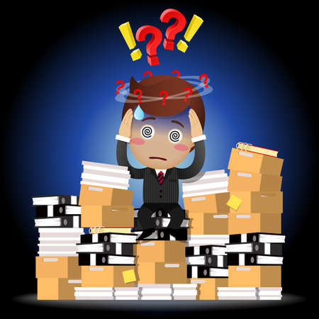indecisive: Confused businessman with question mark sitting on stack of paperwork