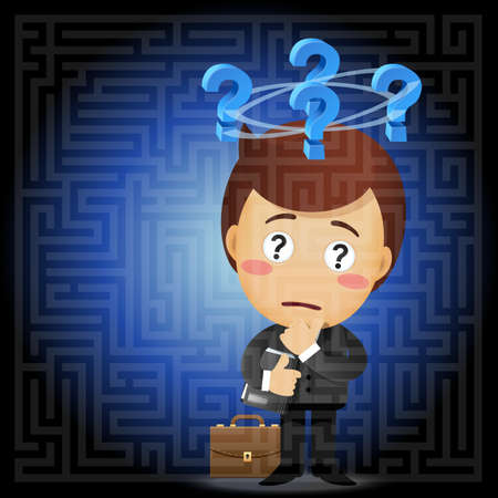 indecisive: confused businessman with question mark solving the solution of a complex maze