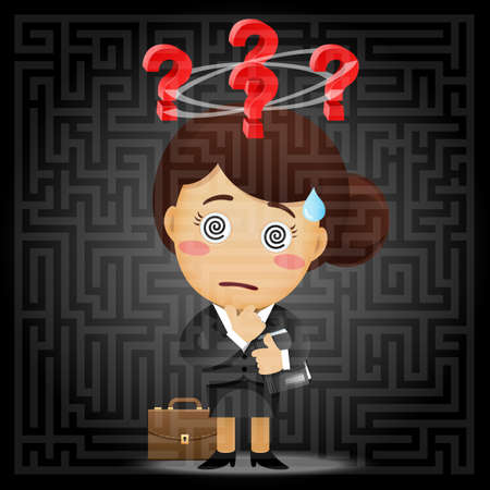 indecisive: confused business woman with question mark solving the solution of a complex maze