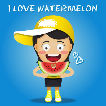 watermelon woman: happy woman carrying big sliced red watermelons