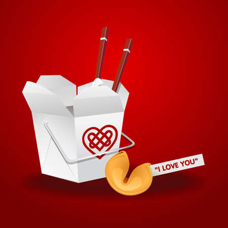 fortune cookie: chinese food box container with chopsticks and fortune cookie with I love you message