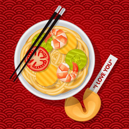 fortune cookie: bowl of stir-fried chinese noodles with chopsticks and fortune cookie with I love you message Illustration