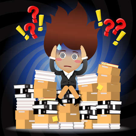 indecisive: Confused business woman with question mark sitting on stack of paperwork Illustration