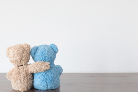 Friendship - two teddy bears holding in ones arms Banco de Imagens