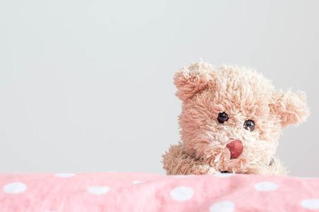 Teddybeer op polka dot stof, in pastel stijl