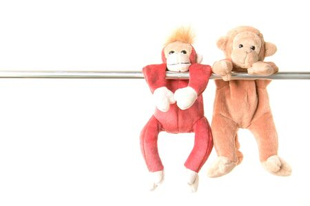 attempt: little monkey hang the bar by his hand to exercise at out door playground Stock Photo