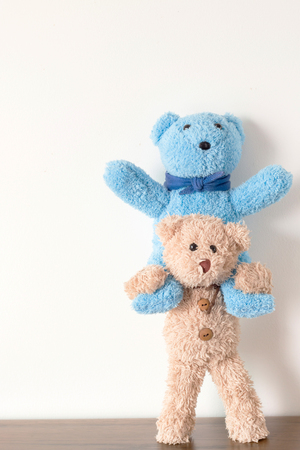 Teddy bear riding friends teddy bear with happy relationship is friend Stock Photo