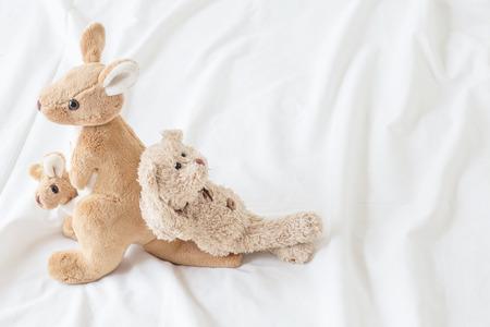 Teddybeer ligt op kangoeroes met een prettige vakantie (goed gevoel) Stockfoto