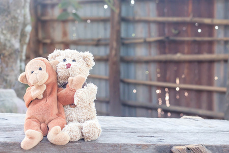 Teddy bear and cute monkey are hugging on bench in front of house ,couple in love in vintage style