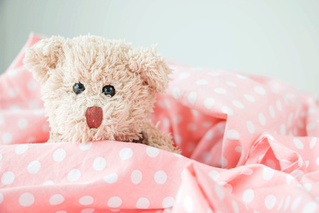 Cute little teddy bear is sleeping in the bed on pink blanket,Teddy bear is relaxing Stock Photo