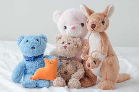 The teddy bear and the gang Stockfoto