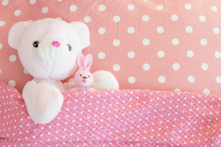 Teddy Bear and cute rabbit lying in the bed  Teddy bear and rabbit