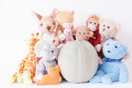 Cute teddy bear and the gang with fresh melon on white background