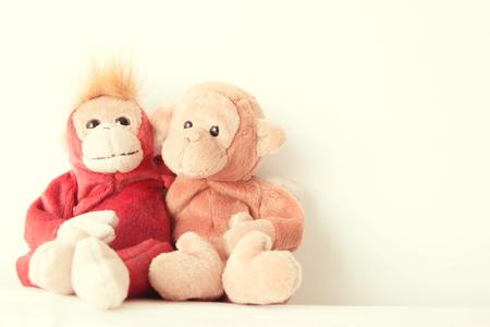 Happy loving couple monkey,Best friends is hugging Stock Photo