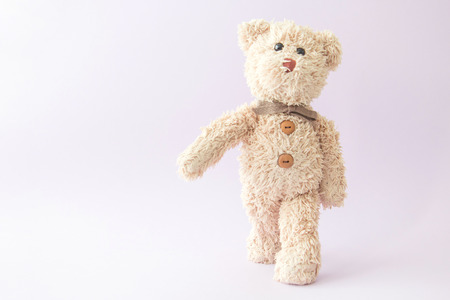 Strong teddy bear is walking in the morning.