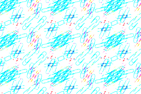 Abstract paper clips colorful object on blue color background