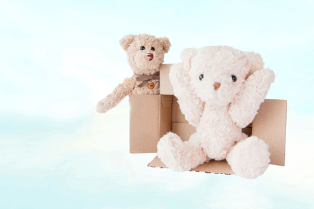 Happy couple teddy bear on vacation with cheerful and happy smile. 스톡 콘텐츠