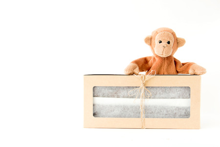 Cute monkey with classy celebration gift box ,Valentine and Chistmas day Stock Photo